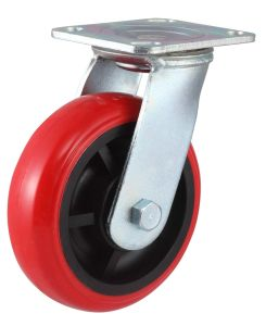 Swivel PU Caster with Side Brake (Round) pictures & photos