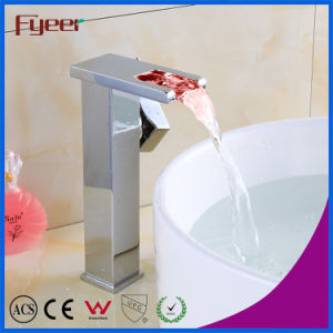 Fyeer High Body Brass Self-Generation Waterfall LED Basin Faucet pictures & photos