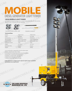 4X1000W Metal Halide Mobile Diesel Generator Light Tower (UD8LT) pictures & photos
