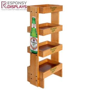 Floor Wood Beer Display Rack Wine Display Shelf pictures & photos