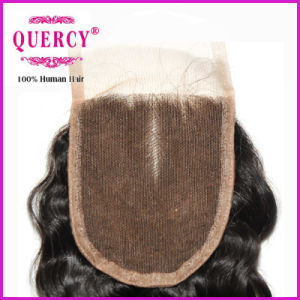 Virgin Remy Hair Middle Part Deep Wave Lace Closure Silk Lace Top Closure pictures & photos