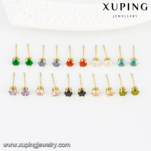 23752 Latest Design Women Wholesale Price Earring Jewelry, Simple 14K Gold Color Plated Earring, Single Stone Earring with Synthetic CZ. pictures & photos