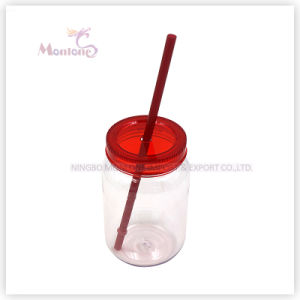 Promotional BPA Free PP+PC Plastic Mason Jar with Straw pictures & photos