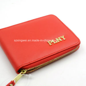 Portable PU Leather Lady′s Purse Zipper Type Leather Wallet pictures & photos