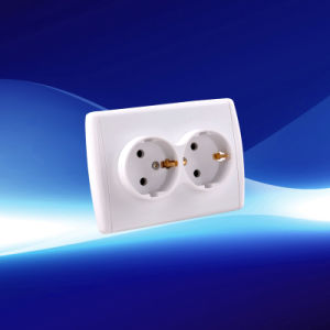 European 2 Gang Wall Socket with Earthing (YW21112)