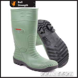 Green PVC Rain Boots with Steel Toe Cap (Sn5220) pictures & photos