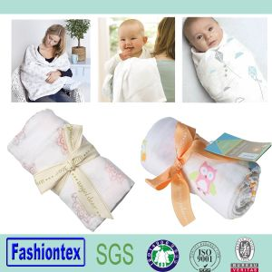 "Gots Certified Fabric Babay Muslin Square 47""X47"" White Cotton Swaddle Blanket pictures & photos"