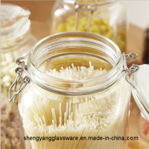 500ml-2000ml Wholesale Clear Glass Jar for Storage Food with Buckle pictures & photos