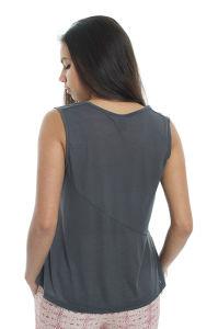 Women Cutout V Neck Sleeveless Cotton T-Shirt pictures & photos