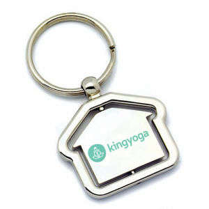 House Shaped Turn Around Rotating Laser Imprint Logo Keyring (F1079B)