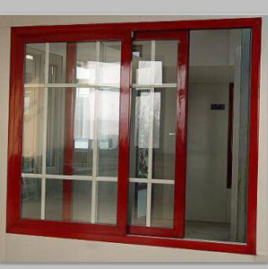 Grill Design Aluminum Sliding Window Factory Wood Color Window