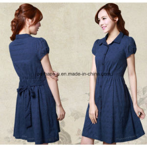 Fashion Embroidered Casual Dress Short Sleeve A-Line Ladies Wear pictures & photos