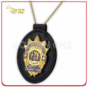Custom Gold Plating Metal Security Badge with Genuine Leather Holder pictures & photos