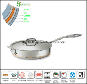 5ply Body Flat Pan Copper Core Saucepan pictures & photos