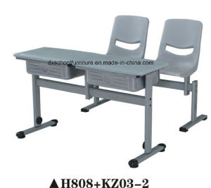 Double Seat Plastic School Furniture Desk and Chair Set pictures & photos