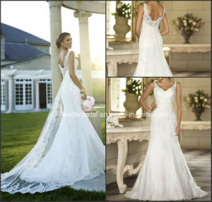 Lace Tulle Bridal Gowns V-Neck Stock Simple Wedding Dress W175282 pictures & photos