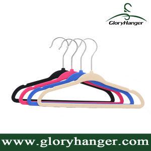 Wholesale Flocking Hanger with Metal Hook Plastic Velvet Clothing Hanger for Suppermarket Hot Sales 2017 pictures & photos