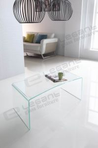 Purple Painted Coffee Table in 12mm Bent Glass pictures & photos
