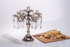 Shine Metal Color Five Poster Glass Candle Holder for Wedding Decoration pictures & photos