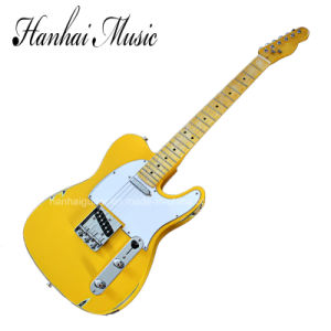 Hanhai Music / Yellow Tele Style Electric Guitar with Maple Neck pictures & photos