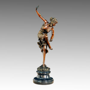 Dancer Statue Flower Lady Bronze Sculpture TPE-459