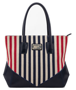 New Arrival Lady′s Striped Canvas with PU Designer Handbags