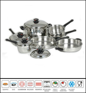 Kitchenware 11PCS Rolled Edge Stainless Steel Cookware Set pictures & photos