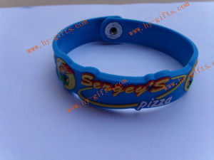 Soft PVC Wristband, Silicone Bracelet, Embosses 2D/3D Pizza Wristband