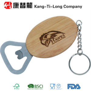 Promotional Bamboo Bottle Opener Keychain