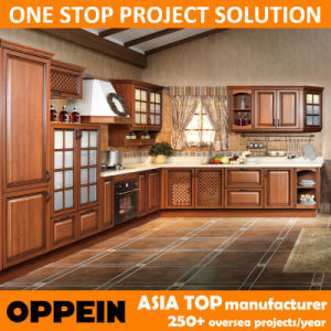 Oppein E0 Classic PP L-Shape Wooden Kitchen Cabinets (OP14-035) pictures & photos