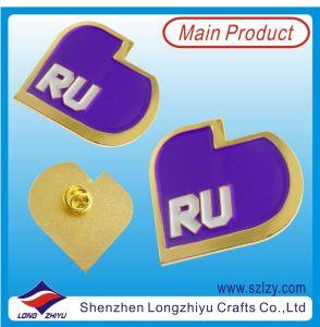 Unique Design Gold Metal Label Badge with Purple Enamel (LZY-10000379) pictures & photos