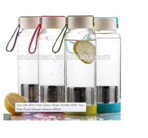Fashion BPA Free Glass Water Bottle with Tea Fliter Fruit Infuser pictures & photos