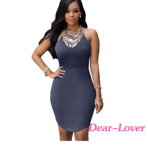 Normal Black Strap Back Hollow-out Mini Dress pictures & photos