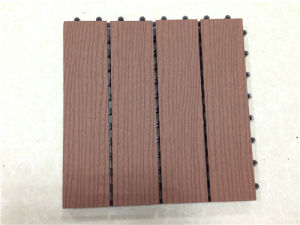 Plastic Wood Outdoor Decking Embossed Wood Grain Tile Patio Park Flooring Tile Price pictures & photos