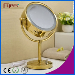 Fyeer Luxury Round Golden LED Makeup Table Mirror (M3028GF) pictures & photos