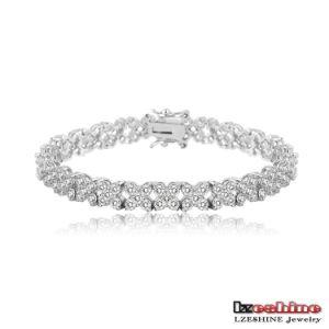18k Platinum Plated Cubic Zirconia Bracelet Jewelry Custom (CBR0036-B)