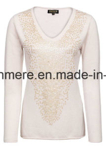 Women′s V-Neck Pure Cashmere Knitwear with Sequins pictures & photos