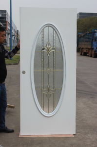 Tempered Decorative Oval Glass American Metal Exterior Front Steel Door pictures & photos