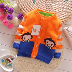 T1165 Kids Striped Lovely Baby Momkey Cardigan pictures & photos