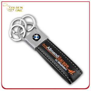 Debossed Printed Logo Chrome Plated Leather Keychain with Metal Ring pictures & photos