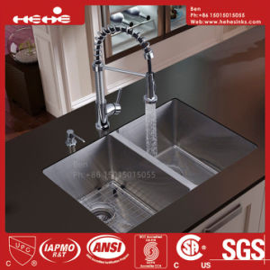31X19 Inch Stainless Steel Radius Under Mount Equal Double Bowl Handmade Kitchen Sink pictures & photos