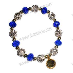 Bracelet Beads, Acrylic Bracelet Rhinestone 10mm Blue Flat Crystal Bead