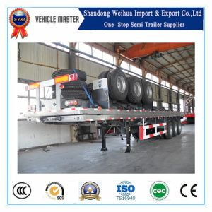 China 40FT Fuwa 3 Axle 60t Flatbed Container Semi Trailer pictures & photos