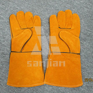 Full Palm Yellow Split Leather Ab/Bc Grade Welding Safety Glove with CE pictures & photos