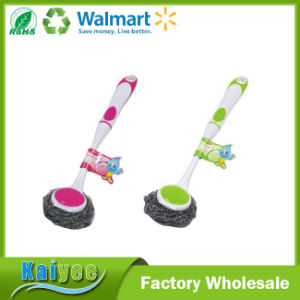 Cleaning Double Sides Sponge Washing Dish Brush with Plastic Handle pictures & photos