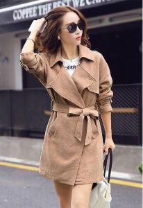 2015 Autumn New Cotton Linen Ladies Long Jacket pictures & photos