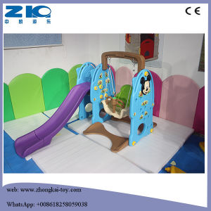 Children Multi-Colour Choice Indoor Play Plastic Slide with Swing and Basketball pictures & photos