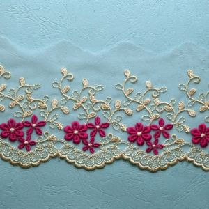 Mixed Color Latest Design Pretty Embroidery Fabric Lace for Garment pictures & photos