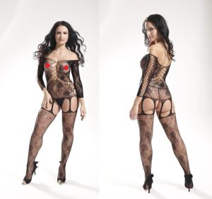 Floral Pattern Long Sleeve Sexy Fishnet Bodystocking 8883 pictures & photos