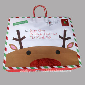 Quality Christmas Printing White Kraft Paper Bag with Glitter Spots Decoration pictures & photos